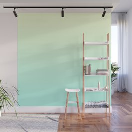 Pastel Mint Green Blue Teal Yellow Ombre Gradient Pattern Soft Spring Summer Texture Wall Mural