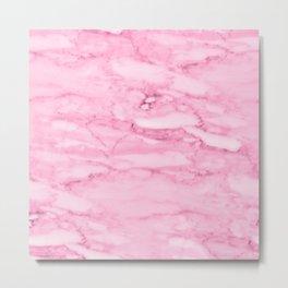 Hollywood Pink Faux Marble Metal Print