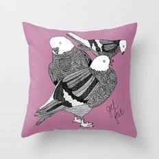 Three Pigeons Getting Fat Throw Pillow