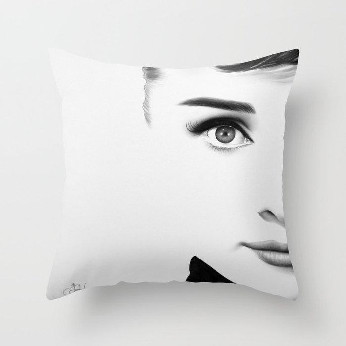 Audrey Hepburn Half Series Throw Pillow