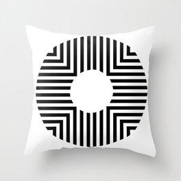 Modern Minimalist Geometric Striped Circle Black & White Throw Pillow