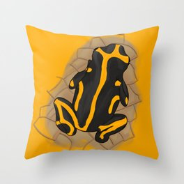 yellow-banded poison dart frog Throw Pillow