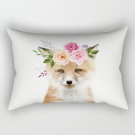Baby Fox with Flower Crown Rectangular Pillow