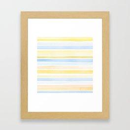 Watercolour stripes 01 Pale sea Framed Art Print
