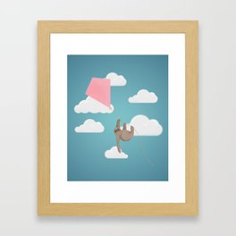 Flying sloth Framed Art Print