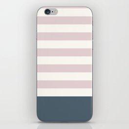 Baby Pink Nautical Stripes Artsy Vintage iPhone Skin