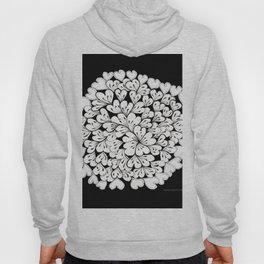 Hearts and Flowers Zentangle black and white illustration Hoody