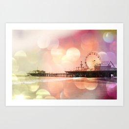 Sparkling pink Santa Monica Pier Art Print