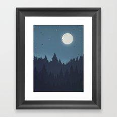 Tree Line - Blue Framed Art Print