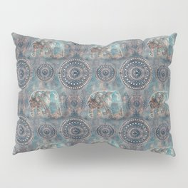 Elephant Ethnic Style Pattern Teal and Copper Pillow Sham