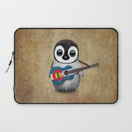 Baby Penguin Playing Colorado Flag Guitar Laptop Sleeve