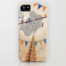 Elephant on tightrope iPhone Case