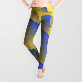 Bright fragments of crystals on irregularly shaped yellow and blue triangles. Leggings