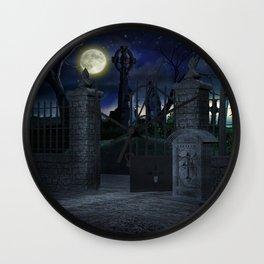 Graveyard #2 * Halloween Churchyard Scary Spooky Skeleton Tombstone Creepy Wall Clock