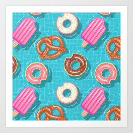 Poolparty doughnuts, pretzel,lollies Art Print