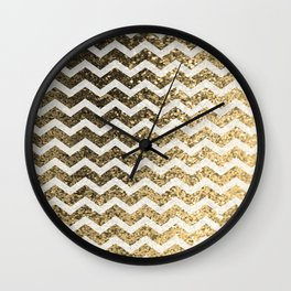 Glitter Sparkly Bling Chevron Pattern (gold) Wall Clock