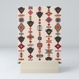 American Prairie Ethnic Tribal Seamless Pattern Mini Art Print