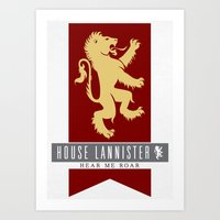 lannister Art Prints featuring House Lannister Sigil by P3RF3KT