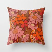 50s Throw Pillows featuring Crazy pinks 50s Flower  by Follow The White Rabbit