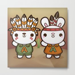 Abe and Abby the Rioters Bunnies Metal Print