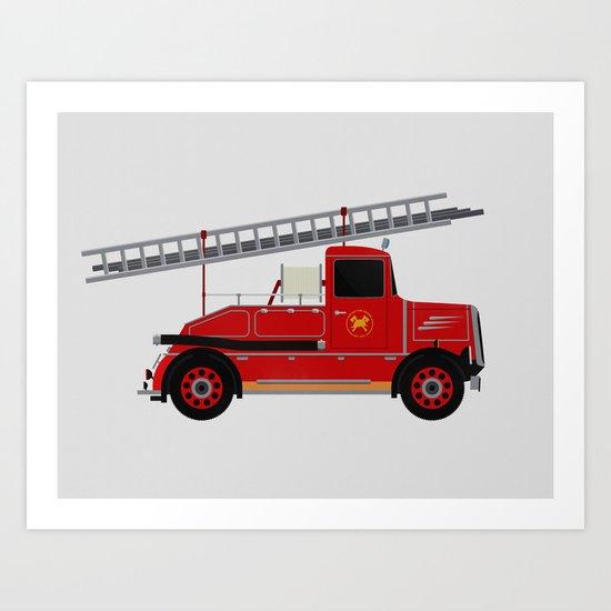 Vintage Fire Engine Art Print