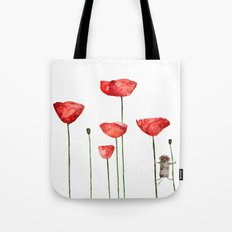 Mouse and poppies - Watercolor illustration Animal + Poppy Flower #Society6 Tote Bag