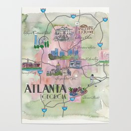 Atlanta Favorite Map with touristic Top Ten Highlights in Colorful Retro Style Poster