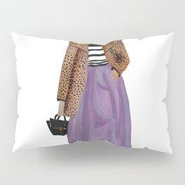Fashion Illustration 'Lila' leopard coat outfit Pillow Sham