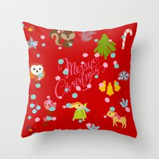 marry christmas pattern red Throw Pillow