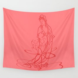 KWAN YIN WITH LOTUS FLOWER. GODDESS OF LOVE AND COMPASSION Wall Tapestry