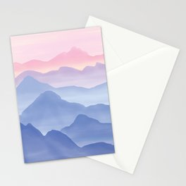 Magical Candy Hand-painted Watercolor Mountains, Airy Mountain Landscape in Pastel Blush Pink, Purple and Blue Color Stationery Cards