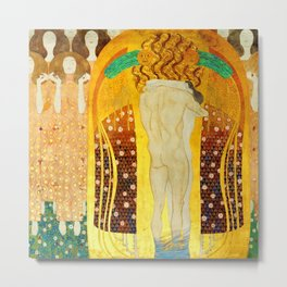 """Gustav Klimt """"The Beethoven Frieze - The quest for happiness"""" Metal Print"""