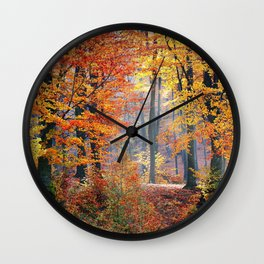Colorful Autumn Fall Forest Wall Clock