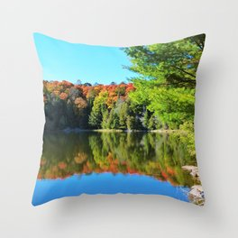 Fall Colours on a Still Lake Throw Pillow