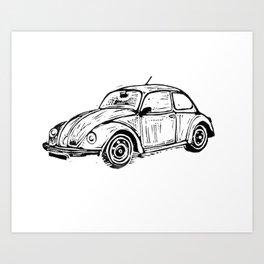 Beetle Lino Print Art Print