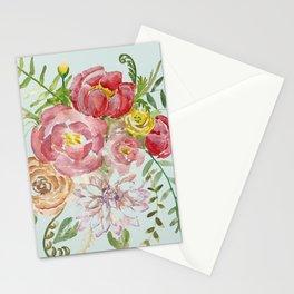 Bouquet of Spring Flowers Light Aqua Stationery Cards