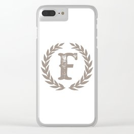 Beige Monogram: Letter F Clear iPhone Case