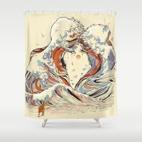 wood Shower Curtains featuring The Wave of Love by Huebucket