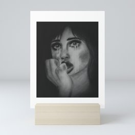 Drowning in Sadness. Portrait of a Crying Woman. Artwork. Mini Art Print