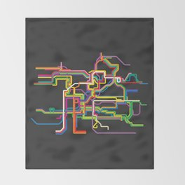 prague metro tram map Throw Blanket