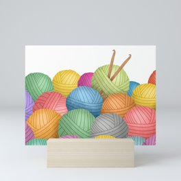 Two Crochet Hooks And A Lot Of Yarn Mini Art Print