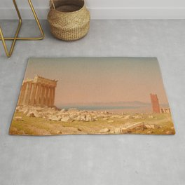 Ruins of the Parthenon Oil Painting by Sanford Robinson Gifford Rug