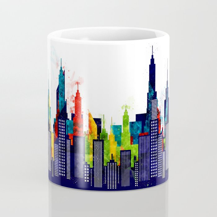 Colorful City Buildings And Skyscrapers In Watercolor, New York Skyline, Wall Art Poster Decor, NYC Coffee Mug