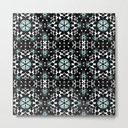 Black, blue, ornament Metal Print