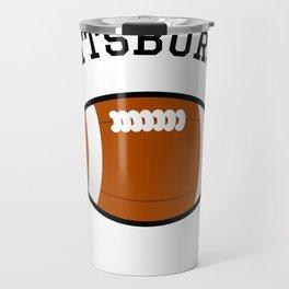 Pittsburgh American Football Design black lettering Travel Mug