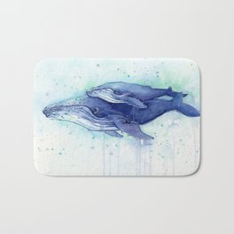 Humpback Whale Watercolor Mom and Baby Painting Whales Sea Creatures Badematte