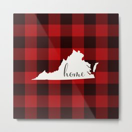 Virginia is Home - Buffalo Check Plaid Metal Print