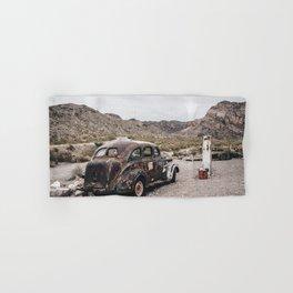 Old vintage car truck abandoned in the desert Hand & Bath Towel
