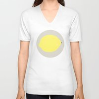 lemon V-neck T-shirts featuring Lemon by KOOVOX