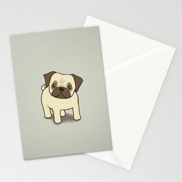 Pug Puppy Illustration Stationery Cards